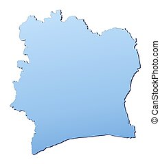 Cote DIvoire map filled with light blue gradient High...