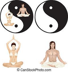 Yoga couple - Couple sitting cross-legged during exercises...