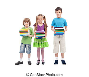 Kids prepared for school - holding colorful books stacks