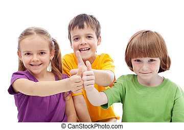Friends forever - kids showing thumbs up signs