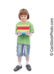 Boy with colorful books