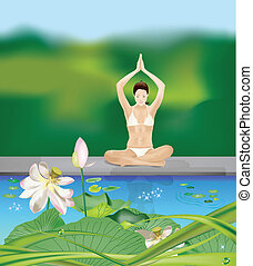 Yoga girl by the pond - Girl sitting cross-legged with...