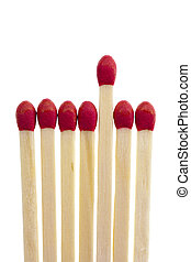 Symbolic selection procedure with a row of matches, isolated...