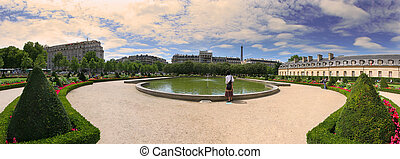 Panoramic view on garden in Paris, France. - Panoramic view...