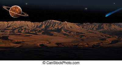 Red Planet (panorama) - Panoramic view on red planet under...