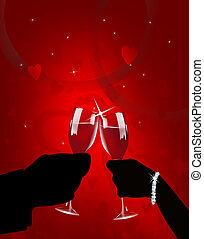 ロマンチック, バレンタイン, トースト