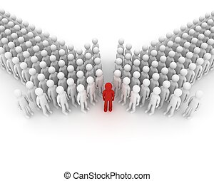 Arrow made of people 3D image - 3d illustration of two...