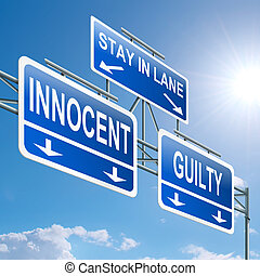 Guilty or innocent. - Illustration depicting a highway...