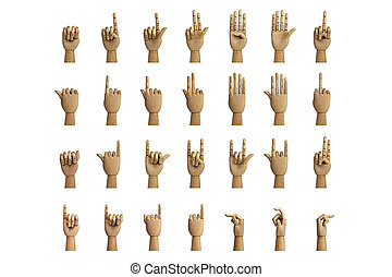 Hand signals through an artificial hand made of wood,...