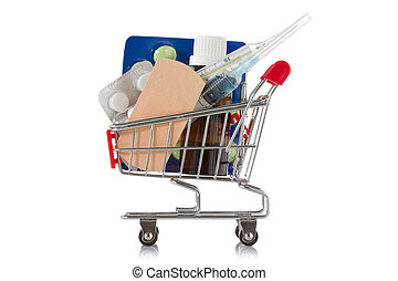 Shopping cart with medical supplies - Shopping cart with...