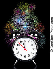 it is high time - alarm clock at high time with fireworks on...