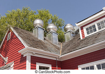 Exhaust system for a restaurant - exhaust system vents on...