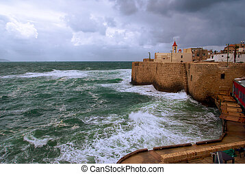 Acre sea wall, Israel - a view of acre ancient city walls,...