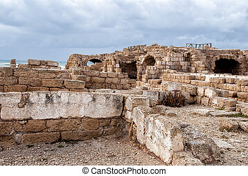 Ruins of roman period in caesarea, Israel