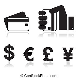 Payment methods icons set - credit - Black glossy icons:...