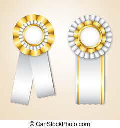 Set of vector prize ribbons - Set of white vector prize...