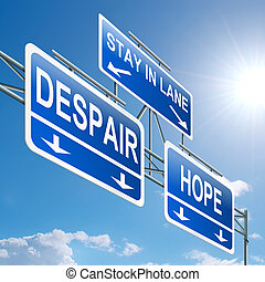 Hope or despair concept. - Illustration depicting a highway...
