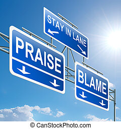 Praise or blame concept - Illustration depicting a highway...