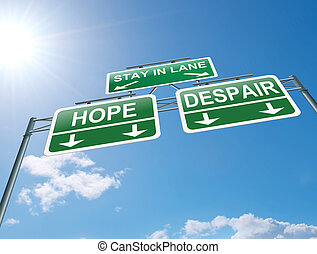 Hope or despair concept - Illustration depicting a highway...
