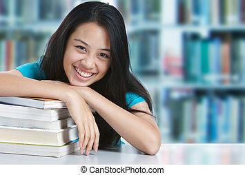 faculdade, estudante, sorrindo