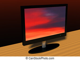 Flatscreen - 3d rendering of a flatscreen on a table top