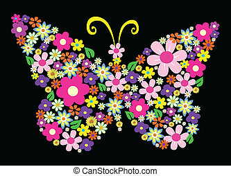 spring flower butterfly vector illustration