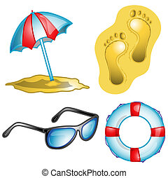 Beach icon set illustration - Illustrations of different...