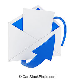 Mail - 3d illustration of opened mail envelope with blank...