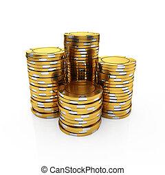 Golden casino chips - 3d illustration of golden casino chips...