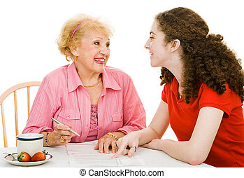 Voting - Discussing Democracy - Senior grandmother and teen...