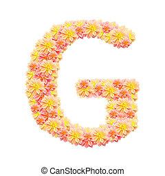 G,flower alphabet isolated on white