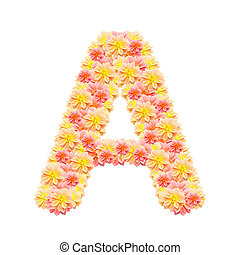 A,flower alphabet isolated on white
