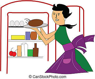 Retro, mamá, cocina