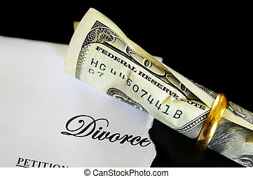 divorce cash - Divorce decree and rolled up cash in a...