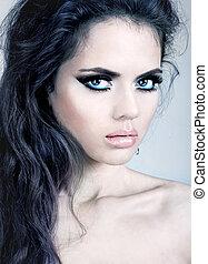 Portrait of beautiful sexy woman model. Fashion shiny...