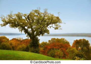 Potomac River View from Mt Vernon - Scenic autumn view of...