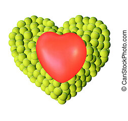 Heart on tennis balls background - Heart shape by lot of...