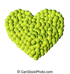 Lot of tennis balls - Heart shape by lot of small tennis...