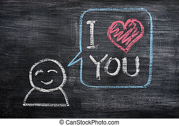 Speech bubble with a cartoon figure, saying I love you drawn...
