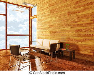 room - modern room with wooden wall and white couch
