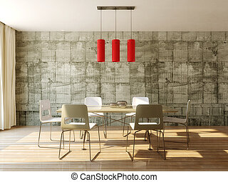 interior - dining table in room with concrete wall