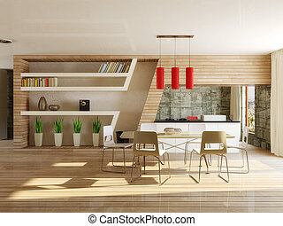 interior - modern interior dining room with wooden...