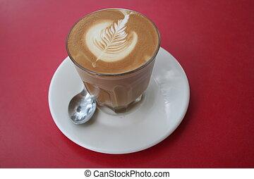 rosetta latte art of a fresh cup