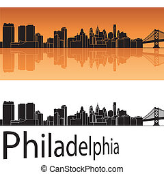Philadelphia skyline in orange background in editable vector...