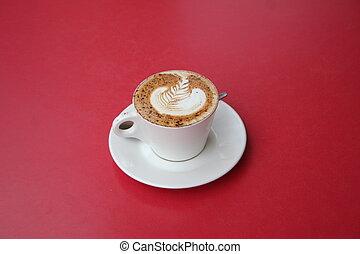mocha latte rosetta - mocha latte with a rosetta latte art...