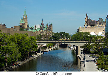 The Rideau Canal in Ottawa, Canada. A UNESCO World Heritage...