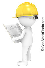 Blueprint - 3D little human character The Builder looking at...