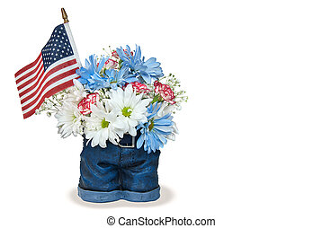patriotic holiday bouquet in pants - Flag with daisies and...