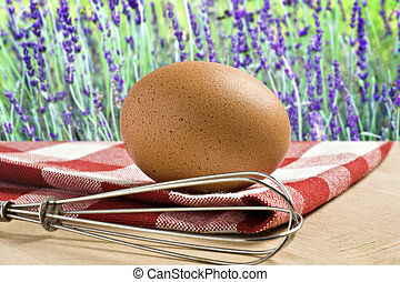 One Egg on a cloth against flower background