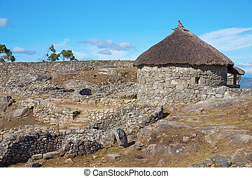 Celtic shacks - Rebuilt Celtic shacks in Saint Tecla, spain